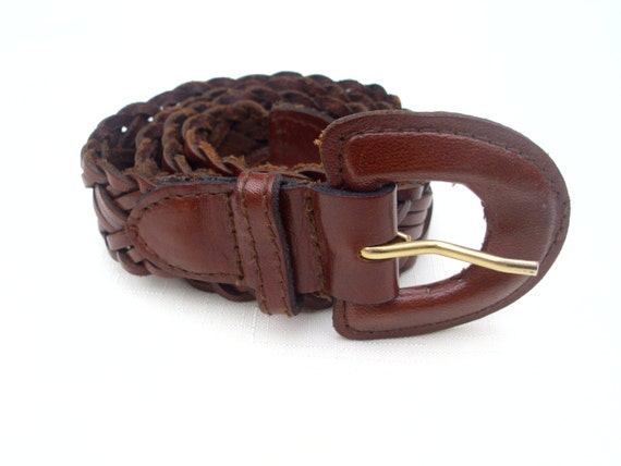 vintage belt brown braided leather woven by
