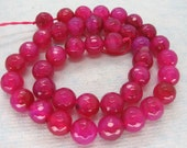 Fuchsia Pink Agate Faceted Round Gemstone Beads Strand 10mm