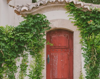 Travel Photography, Door Print, Red Photograph, Green Ivy Photography, European Photography, Old Door Print - Colonial