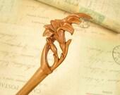 Handmade Peach Wood Hair Stick - Lily