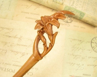 Handmade Peach Wood Hair Stick - Lily