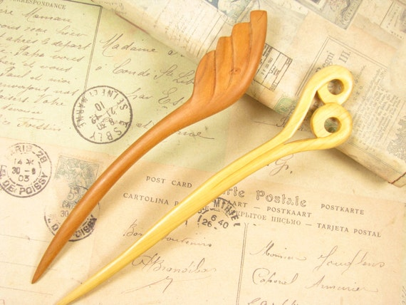 Reserved listing for greensepia - Two Wood Hair Stick