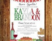Italian Couples Shower Invitation; Italian Rehearsal Dinner Invitation; Italian Wedding Party Invitation; Custom Digital File