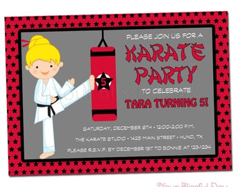 PRINTABLE Girl Karate Party Invitations (Character of your choice) #543
