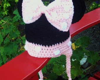Minnie Mouse Style Crochet Hat with earflaps in choice of 5 sizes