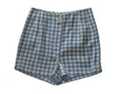Clearance SALE / HIGH WAISTED women Shorts / Plaid Shorts / Blue and white Check Print / Checkered pants