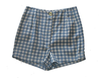 Sale / HIGH WAISTED women Shorts/ size 10 US / Plaid Shorts / Blue and white Check Print / Checkered pants