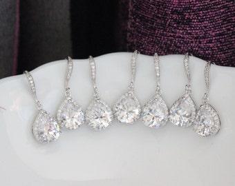 set  4  zirconia bridesmaid earring , bridal cz earring , wedding zirconia earring ,