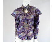 Womens Western Shirt, Peekaboo Chest and Shawl, Purple Paisley Vintage 1980s