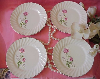 4 Vintage Cottage Pink Rosebud Dessert Dishes Plates