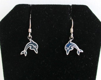 925 Sterling Silver Dolphin Earrings - Pierced w/ Blue Inlay, Vintage Carded