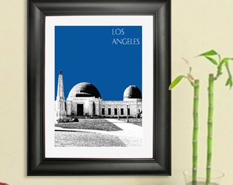 Los Angeles Poster - Art Print - Griffith Observatory Skyline  - Choose Your Background Color