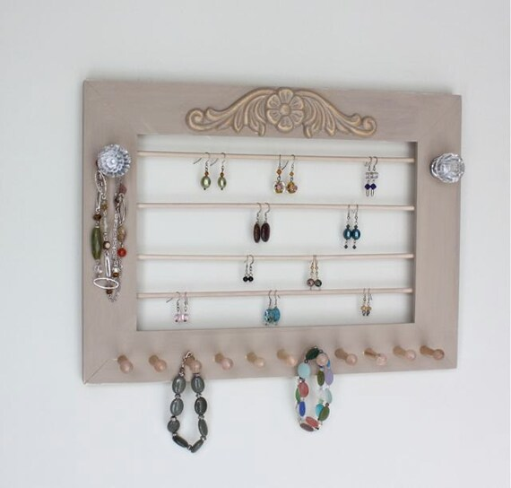 Jewelry frame organizer necklace holder wall by onthewallusa for Picture frame organization wall