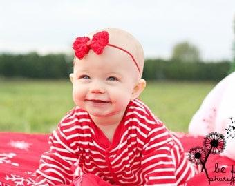 Red Mini Chiffon Rose Bow Headband - Baby Headband - Toddler Headband - Newborn Headband - Bow Headband
