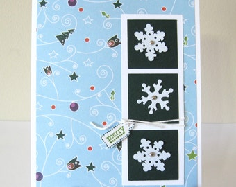 Set of Six Snowflake Squares Christmas Cards
