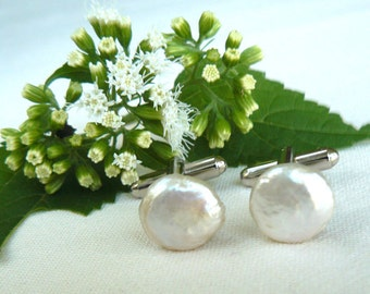 White Coin Pearl Cufflinks