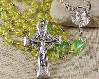 Catholic rosary handmade with yellow and green crackle glass beads