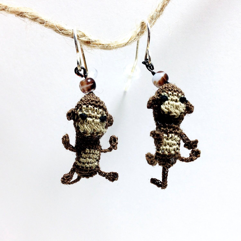 Crochet Hook Earrings: I Love Bananas Crochet Fish Hook Earrings Sterling Silver