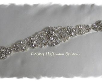 "Rhinestone Crystal Pearl Bridal Sash, 15"" Rhinestone Wedding Dress Belt, Pearl Jeweled Wedding Sash, Pearl Bridal Belt, No. 4060S4066-15"