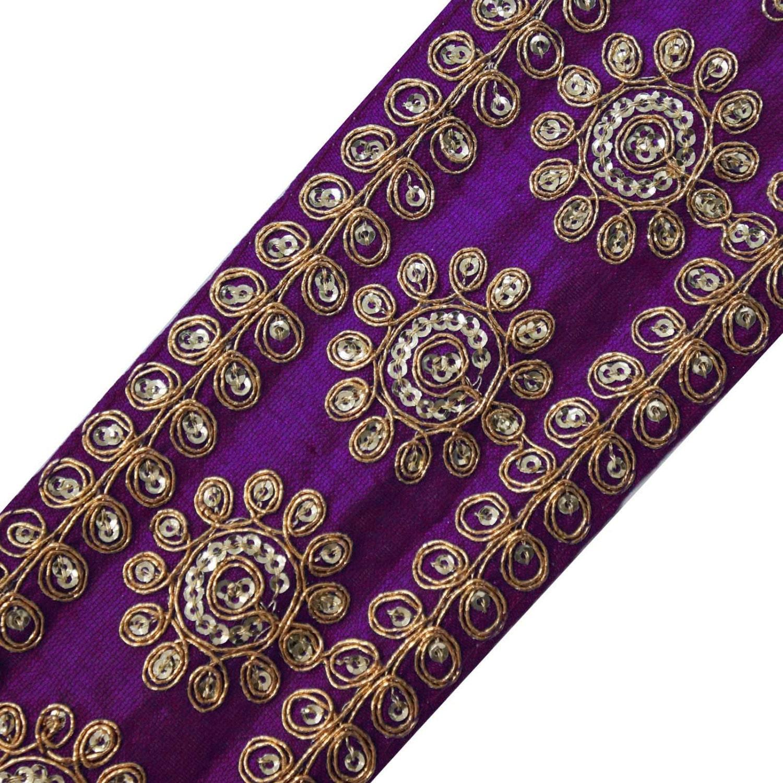 Fabric Flower Trim: Purple Fabric Trim Sequins Ribbon Floral Sari Border Trimming