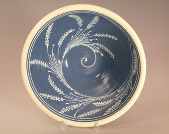Large Stoneware Bowl  White wheat Spiral Swirl  Pattern on a Blue background
