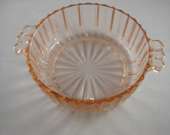 Pink Glass Two Handled Bowl Queen Mary Prismatic Line