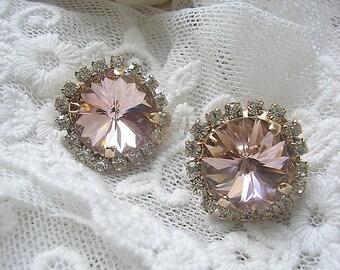 light peach wedding earrings, Bridesmaid earrings,Sparkle earrings,  bridal Crystal earrings, Bridesmaids gift,