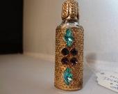 Antique Mini Gold Filigree Bejeweled Purfume Bottle/Vintage Miniature Filigree Perfume Bottle Valentine Gift