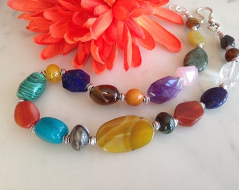 SALE_COLOR HARMONY-chunky statement necklace, big, bold, multi gemstone, multi color, natural stone, handmade, beaded