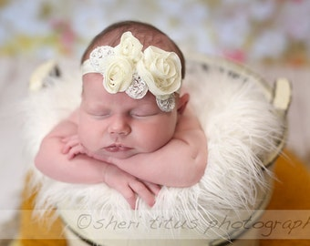 Cream Flower Baby Headband - Cream Flower Newborn Headband - Cream and Silver and White Leaves Headband - Baptism Headband - Christening
