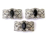 3 silver and black 2 hole slider beads, Art Deco antiqued silver, black marquis and crystal two hole beadse beads, double hole sliders