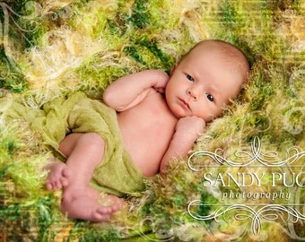 Photo Prop Green Newborn Baby Infant Children Green Brown and Cream