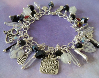 Girls Night Out Charm Bracelet, Glow in the Dark, Black and White
