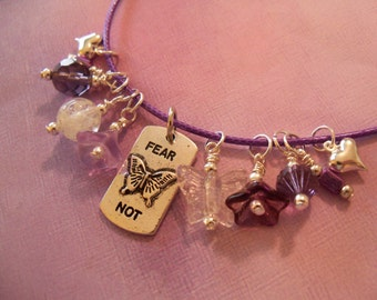 Reversible Necklace,  Fear Not or Butterfly Saying, Glow in the Dark, Purple