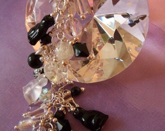 Cat Charm Bracelet, Glow in the Dark, Shadow Play Kitties by Moonlight, Black and White, Goldstone, Moonstone, Quartz