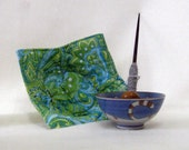 Support Spindle Bowl no-Slip  Slip cover Green Swirls