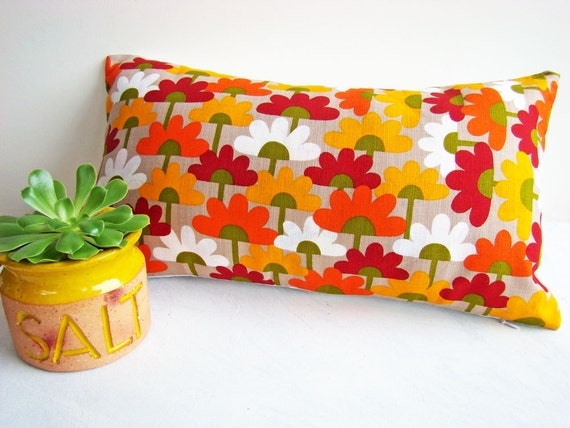 Bright Colored Flower Pillow Cover, Funky Cushions, Colourful Decor