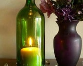 GREEN Wine Bottle Candle Holder Hurricane Lamp Centerpiece