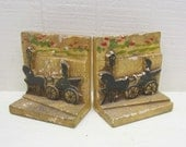 Vintage Automobile Bookends Chalkware