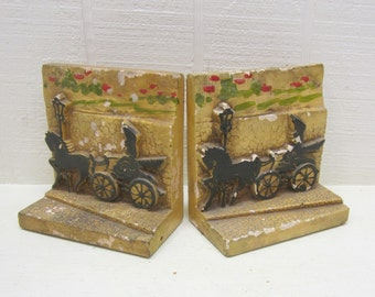 Vintage Automobile Bookends Chalkware