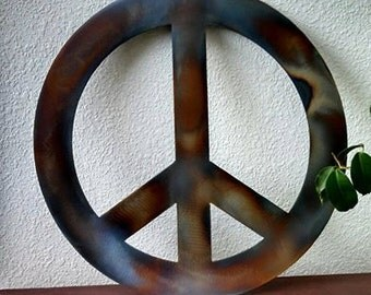 Recycled Steel Iridescent Colored Peace Sign Wall Decor