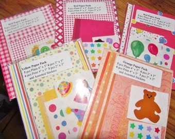 ON SALE Mini Scrapbooking Paper and Sticker packs Scrapbook party favor party door prize Stocking Stuffer Decorative papers Scrapbooker gift