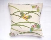 "Ivory & Green Vintage Kimono Fabric Cushion Pillow 'Moths and Grass' (12"" x 12"")"