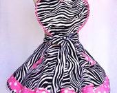 Women's Sassy Apron, Zebra Hot Pink, Polka a dot Print Fabric ,Retro Twirl Skirt ,Sweetheart Bib Apron