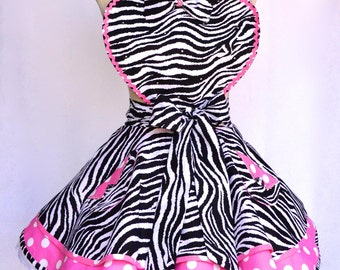 Women's Sassy Apron, Zebra Hot Pink, Polka a dot Print Fabric ,Retro Twirl Skirt ,Sweetheart Bib Apron