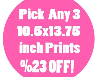 Buy this listing to pick THREE 10.5x13.75 inch Signed Prints - Save 23 Percent Than If Bought Seperately - Read Description to Pick Pirints