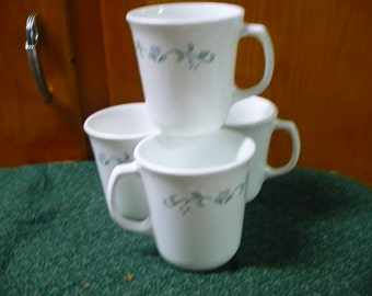2 - Corning Ware - Country Cottage ( Corelle Pattern ) - Coffee Cups _ Price Is For All - Read Description