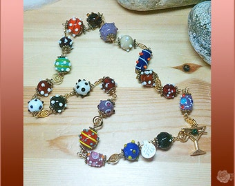 """25"""" Necklace Multicolor Lampwork Bumpies Various Glass Beads Gold Plated Bead Chain Gold Pewter Detailed Martini Toggle Clasp Enameled Olive"""
