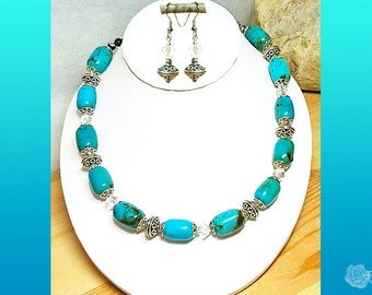 """17"""" Necklace Turquoise Barrels Fancy Pewter BeadCaps Fancy Pewter Beads Clear Oblique Swarovski Crystals And/Or Swarovski Crystal Earrings"""