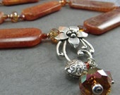 Crab Fire Agate Orange Red Copper Crystal Silver Necklace